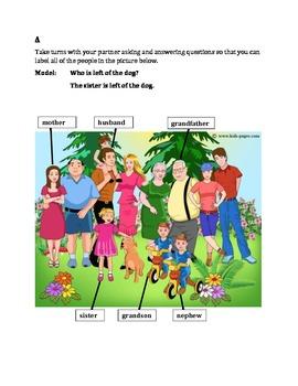Family in English Partner Speaking activity