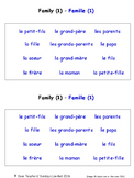 Family in French Worksheets