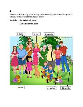 Famiglia (Family in Italian) Partner Speaking activity