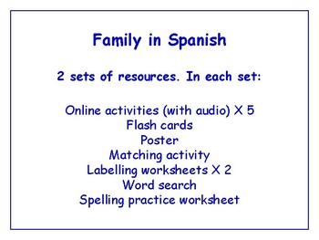 Family in Spanish Bundle - Worksheets, Games, Activities & More (with audio)