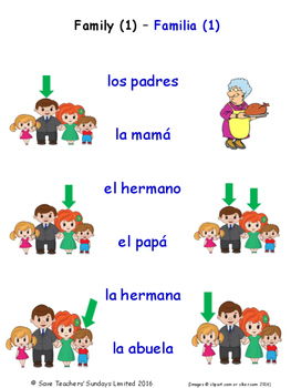 Family in Spanish Matching Activities
