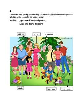 Familia (Family in Spanish) Partner Speaking activity