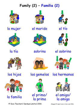 Family in Spanish Word searches / Wordsearches