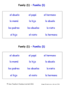 Family in Spanish Worksheets