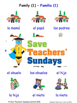 Family in Spanish Worksheets, Games, Activities and Flash Cards (1)