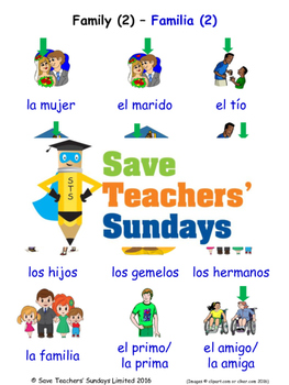 Family in Spanish Worksheets, Games, Activities and Flash Cards (2)