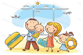 Family in the airport with their luggage