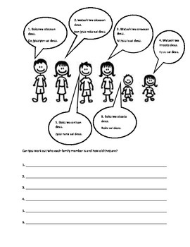 Family members and age worksheet Japanese | TpT
