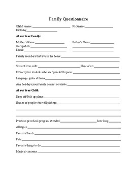 Family questionnaire