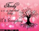 Family tree Word Art Branche SVG clip art past Tree Deep Roots quote -324S