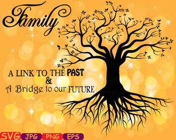 Family tree Word Art Branche SVG clip art past Tree Deep Roots quote -388S