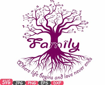 Family tree Word Art SVG clip art love never ends Tree Deep Roots quote -419S