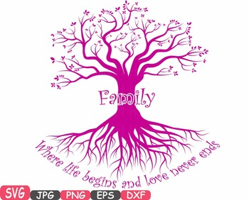 Family tree Word Art SVG clip art love never ends Tree Deep Roots quote -420S