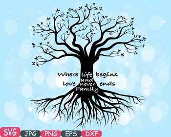 Family tree Word Art SVG clip art love never ends Tree Deep Roots quote -421S