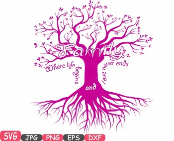 Family tree Word Art SVG clip art love never ends Tree Deep Roots quote -422S