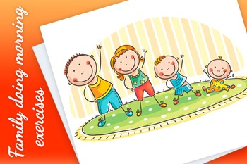 Family with Two Children Doing Morning Exercises