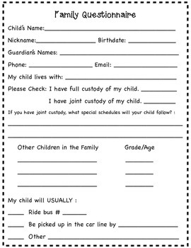 Family/Academic Questionnaire