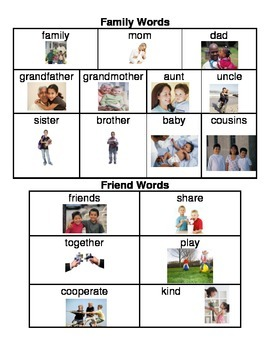 Family/Friends Word Bank