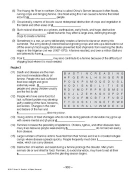 Famine, WORLD HISTORY LESSON 96/100, Reading and Word Search Puzzles  +Quiz