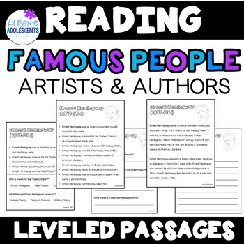 Famous ARTISTS AND AUTHORS Leveled Reading Passages