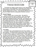Famous Abolitionists- An Informational Text with a Comprehension Activity