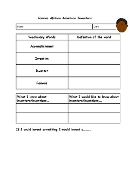 Famous African American Inventors Graphic Organizer/Prompt