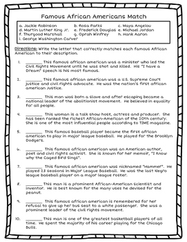 Famous African American Matching Cards and Worksheet