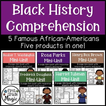 Famous African American Mini-Unit Comprehension Bundle for Black History Month