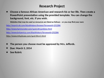 Famous African American Research PowerPoint Project