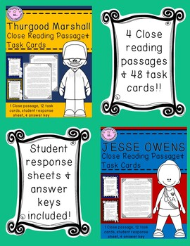 Famous African Americans Close Reading & Task Cards Bundle