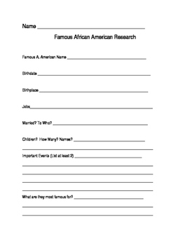 Famous African Americans Research Sheet