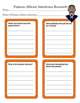 Famous African Americans Research Graphic Organizer