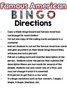 Famous American Bingo Review ( correlates to Virginia SOL K-3)