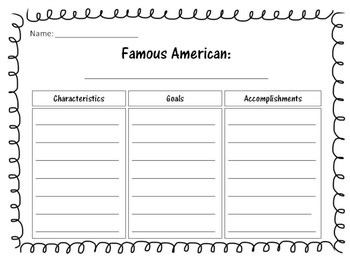 Famous American Biography Graphic Organizer
