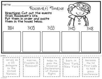 Roosevelt Famous American Mini Unit Powerpoint Printables Eleanor Roosevelt Coloring Pages