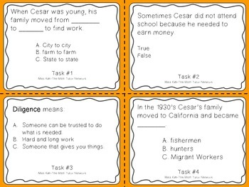 Famous American Heroes Task Cards- Cesar Chavez