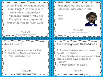 Famous American Heroes Task Cards- Frederick Douglass