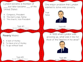 Famous American Heroes Task Cards- Lyndon B Johnson