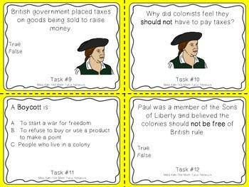 Famous American Heroes Task Cards- Paul Revere