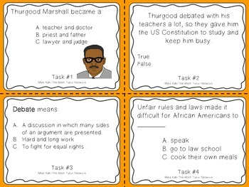 Famous American Heroes Task Cards- Thurgood Marshall