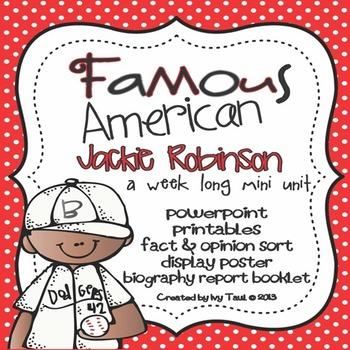 Jackie Robinson: Famous American Mini Unit {PowerPoint & Printables}