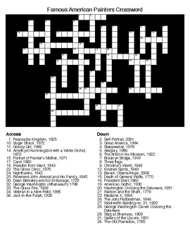 Famous American Painters Crossword & Word Search with KEYS