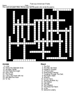 Famous American Poets Crossword and Word Search with KEYS