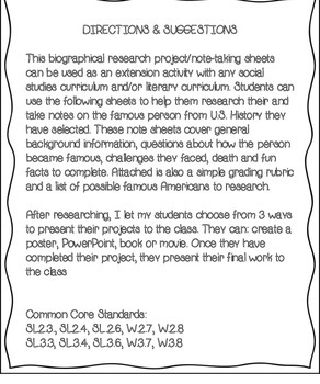 Famous American Research Outline