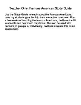 Famous American Study Guide SOL 3.11