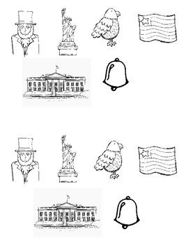 Famous American Symbols Cut & Paste Sort