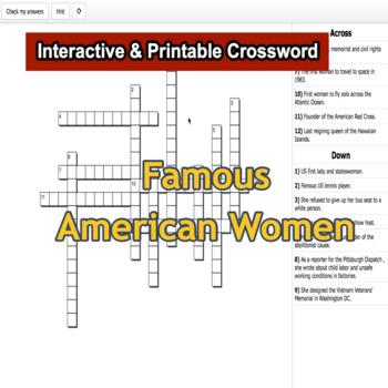 Famous American Women Interactive & Printable Crossword Puzzle G6-8