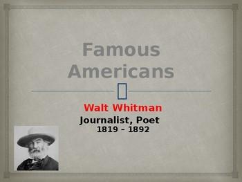 Famous American Writers - Walt Whitman