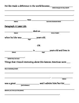 Famous Americans Biography Template