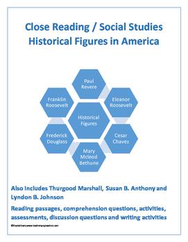 Historic Americans Close Reading Bundle (Roosevelt, Marshall, Chavez etc.)